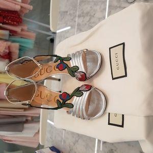 Silver Metallic Gucci Floral Heels